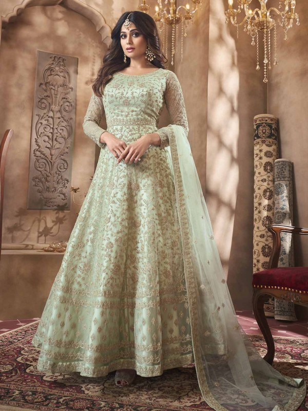 Pista Green Anarkali Bollywood Salwar Suit in Net Fabric.