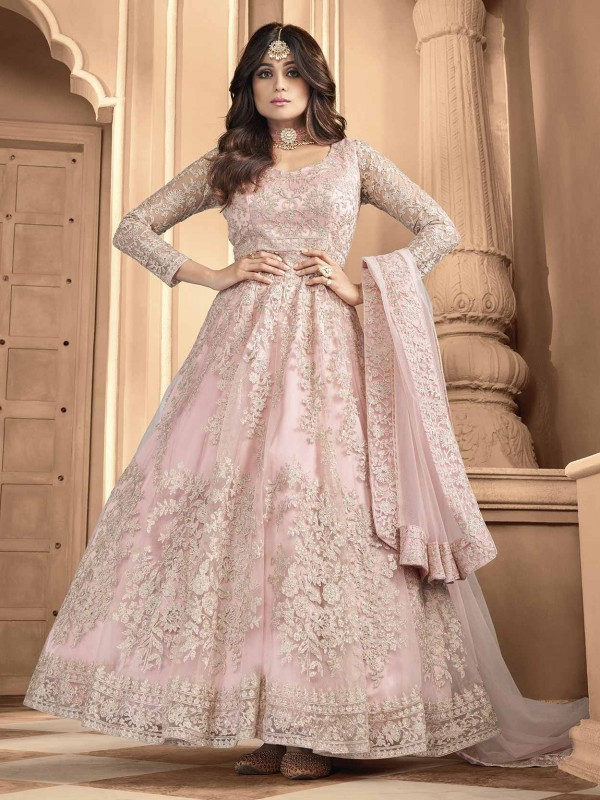 Pink Colour Net Heavy Designer Salwar Suit.