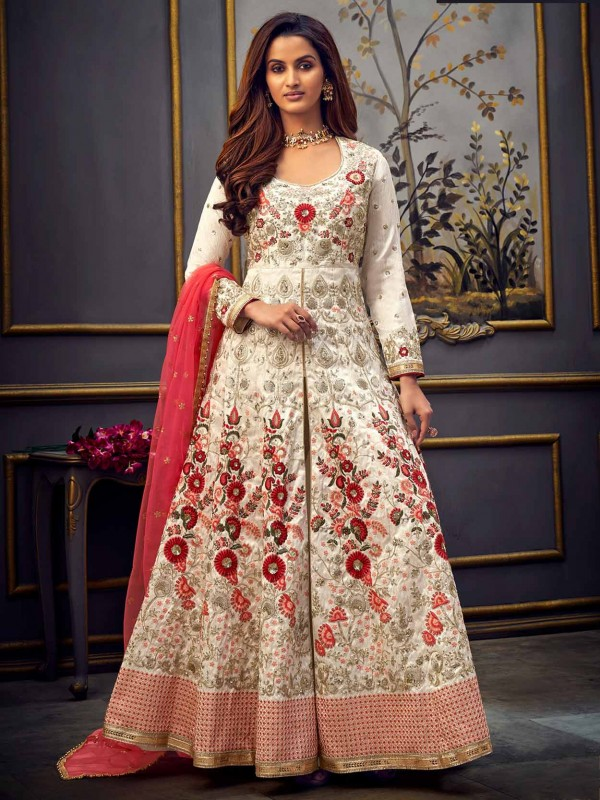 Cream Colour Net Designer Salwar Suit With Zari,Zardozi,Embroidery Work.