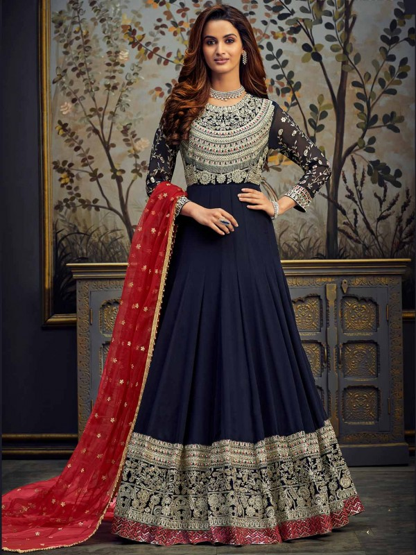 Blue Colour Georgette,Velvet Anarkali Salwar Kameez.