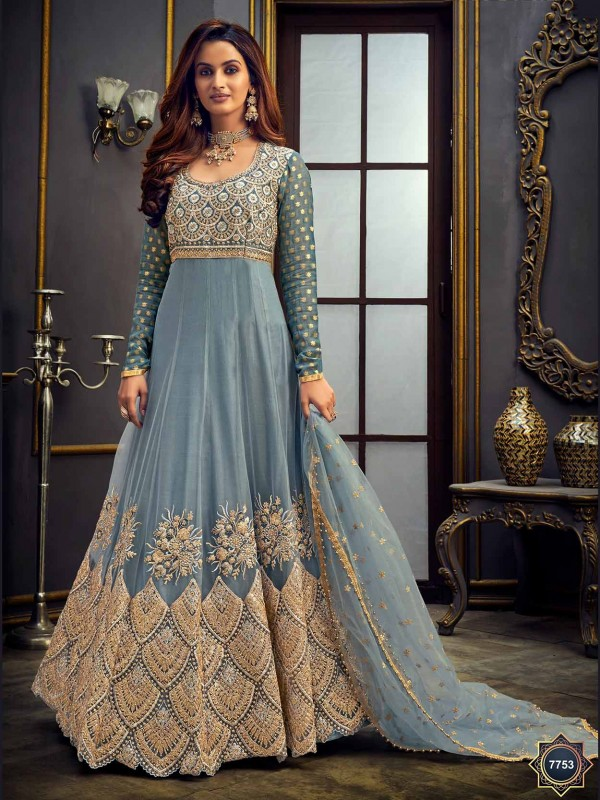 Net Designer Salwar Suit in Grey Colour.