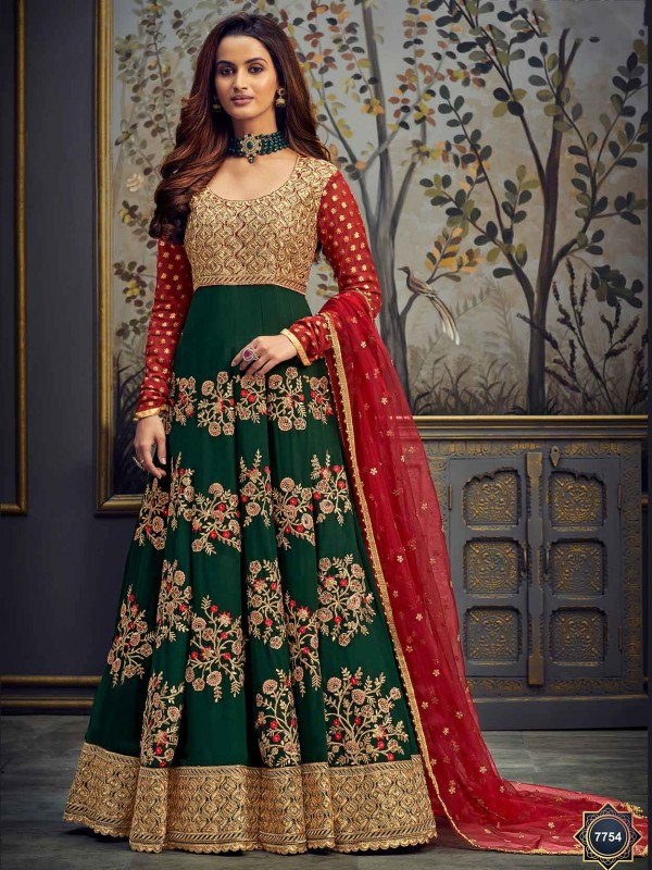 Green Colour Net Designer Anarkali Salwar Suit.