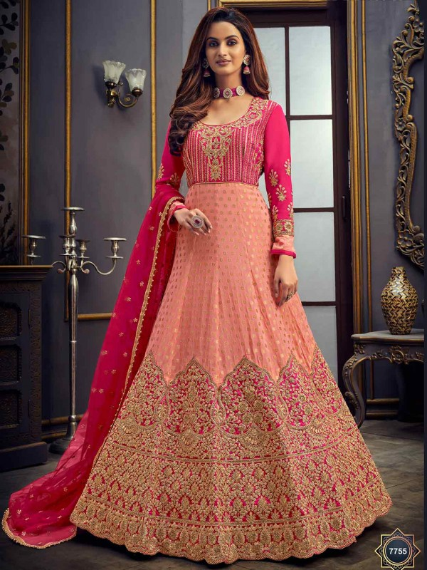 Pink,Peach Colour Women Anarkali Salwar Suit.