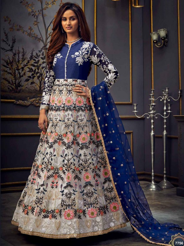 Blue,Grey Colour Net Designer Salwar Suit.