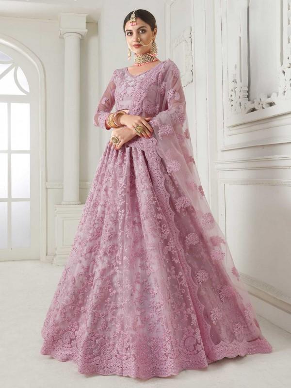 Pink Colour Net Designer Lehenga Choli in Zardozi,Embroidery Work.