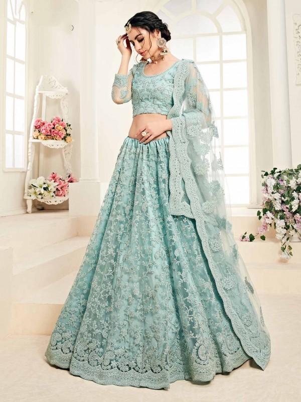 Sky Blue Colour Net Women Lehenga Choli.