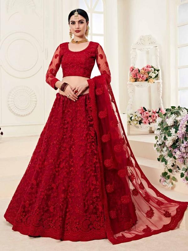 Maroon Colour Net Bridal Lehenga Choli in Zardozi,Embroidery Work.