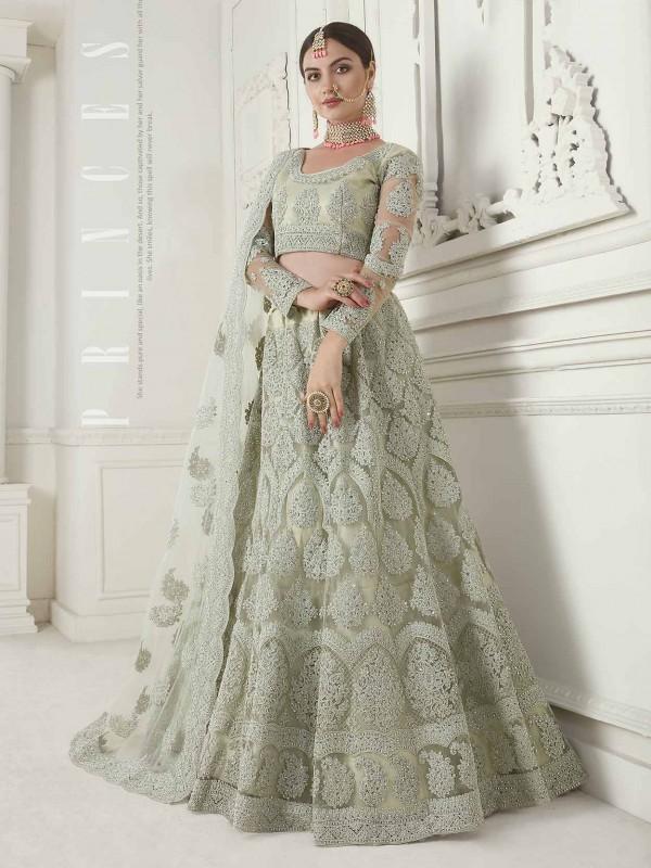 Pista Green Colour Net Fabric Women Lehenga.