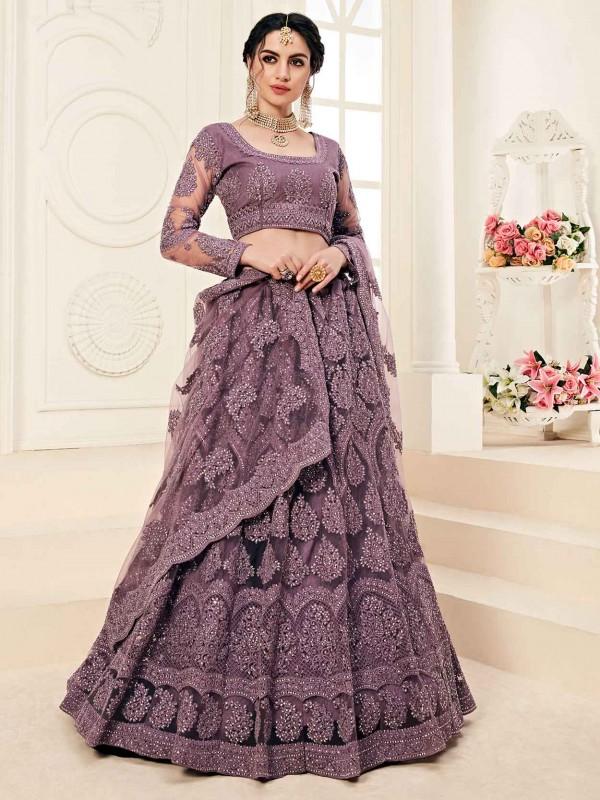 Purple Colour Net Lehenga Choli in Zardozi,Embroidery Work.