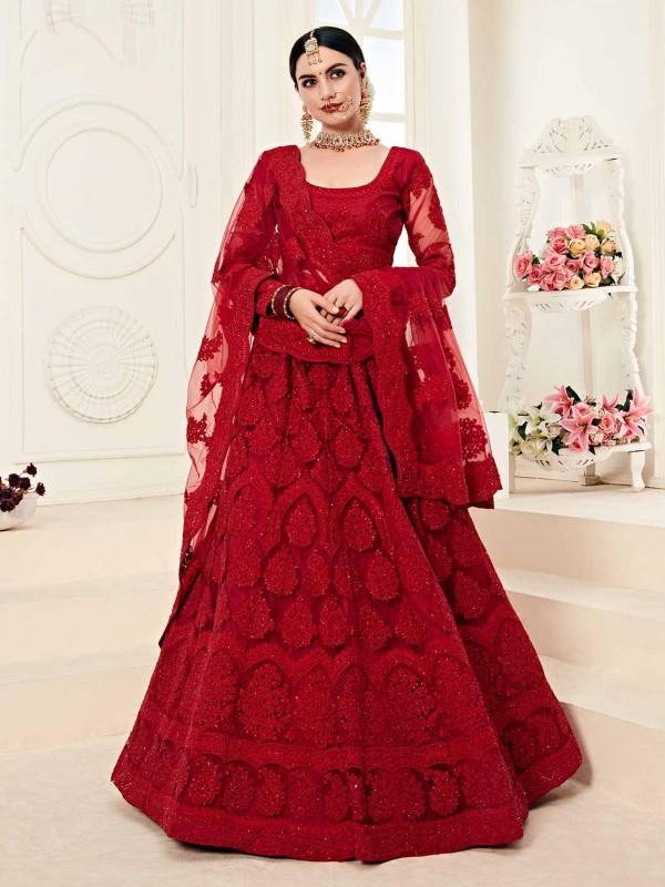 Maroon Colour Net Bridesmaid Lehenga Choli.