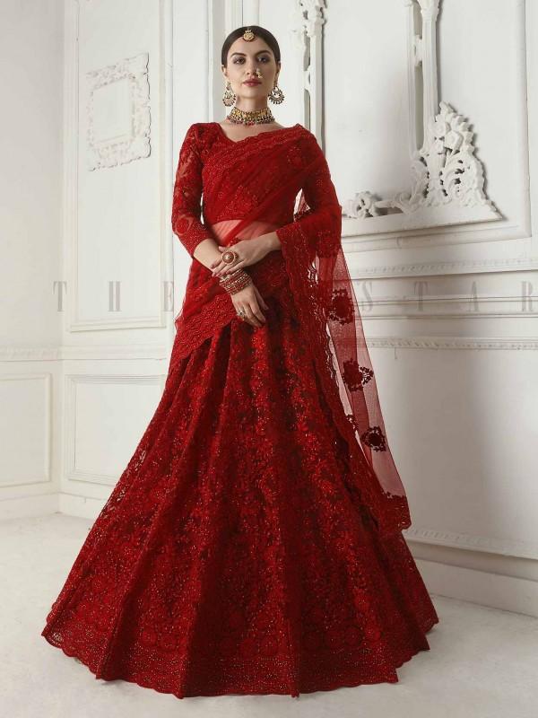 Maroon Colour Net Fabric Wedding Lehenga Choli.