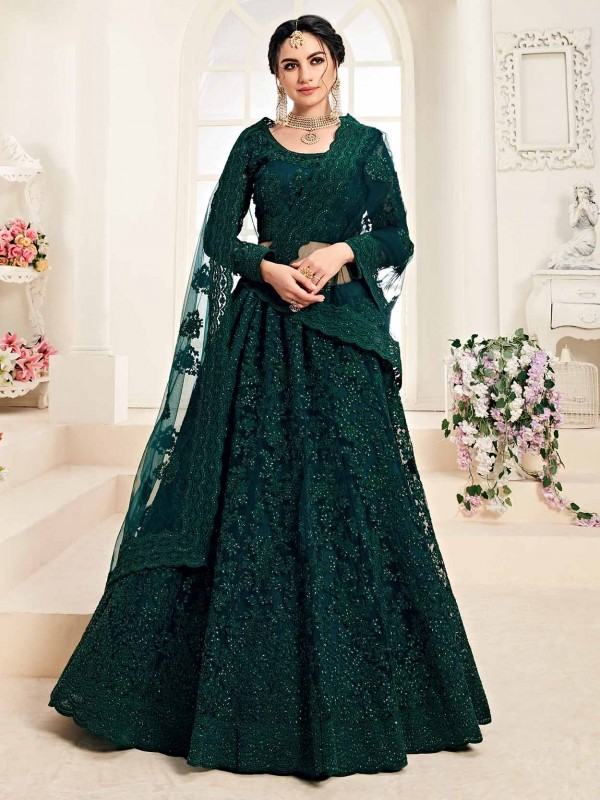 Rama Green Colour Designer Lehenga Choli in Net Fabric.