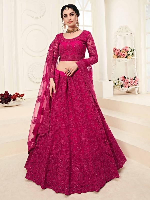 Dazzling Rani Pink Colour Net Fabric Designer Lehenga Choli.