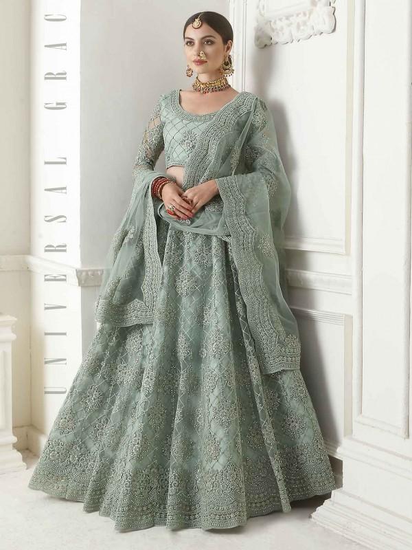 Turquoise Colour Net Designer Women Lehenga.
