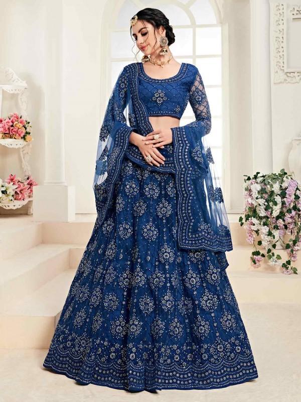 Graceful Blue Colour Net Fabric Lehenga Choli in Zardozi,Embroidery Work.