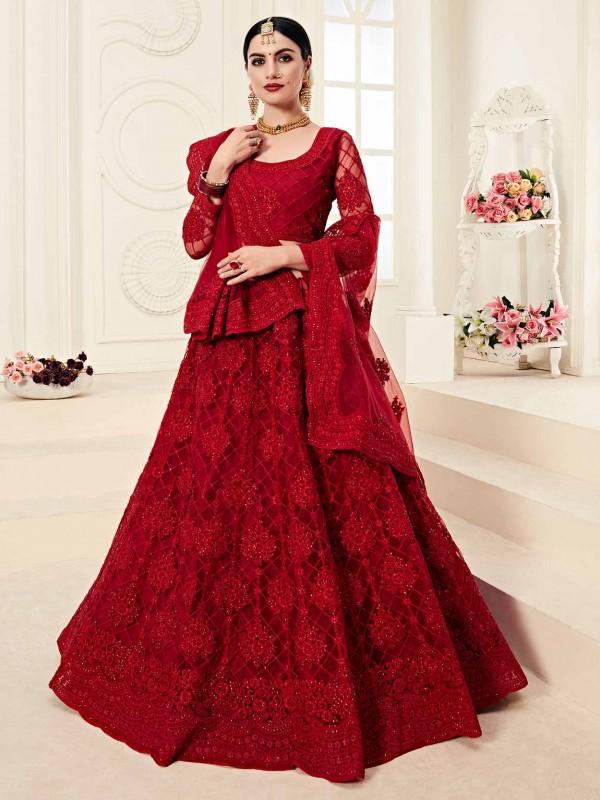 Maroon Colour Net Fabric Indian Wedding Lehenga Choli.