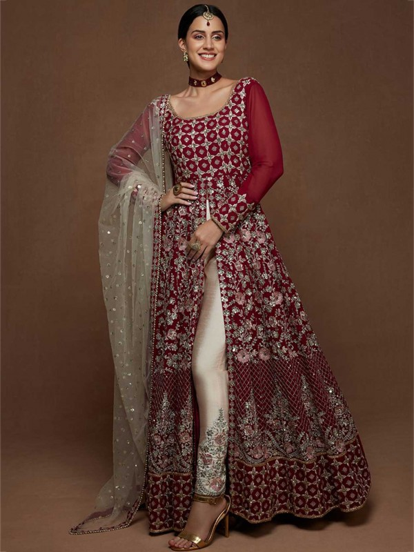 Maroon Colour Party Wear Salwar Suit in Net Fabric.