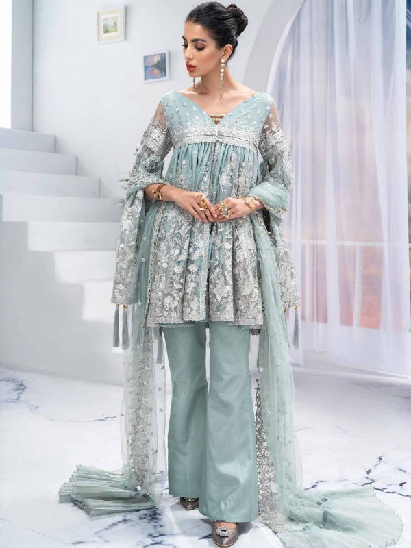Sky Blue Colour Net Fabric Pants Style Salwar Suit.