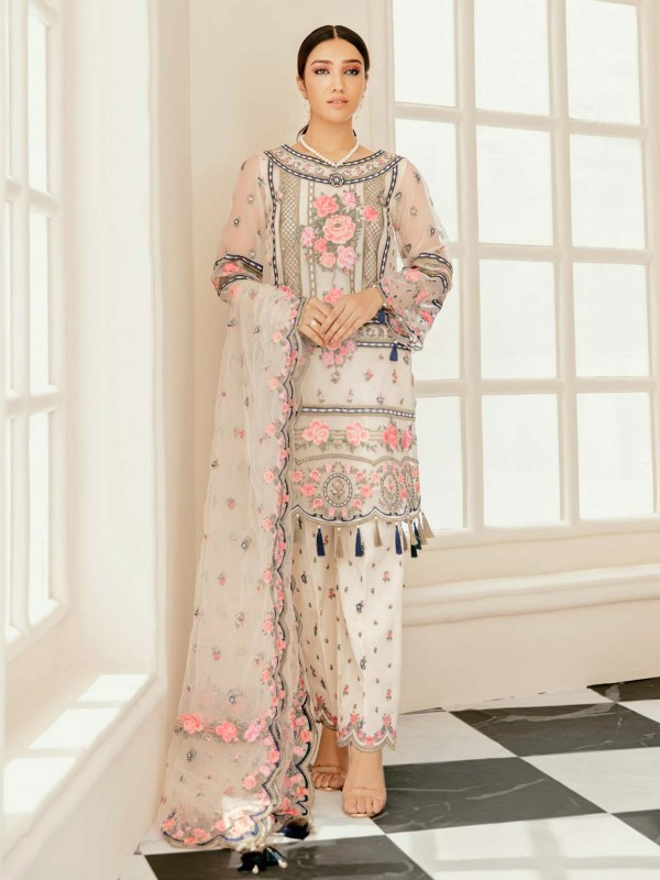 Cream,Off White Designer Salwar Kameez in Net Fabric.
