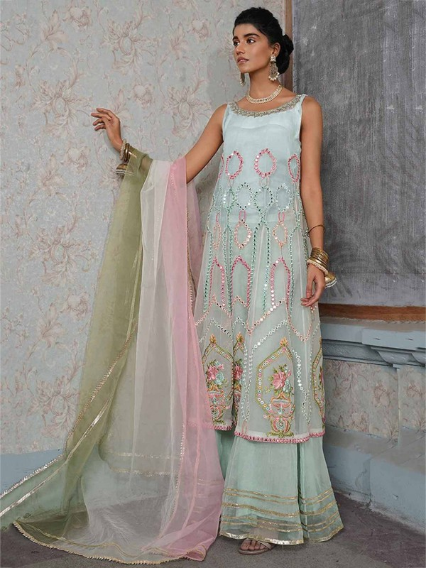 Off White,Green Colour Sharara Salwar Suit in Net Fabric.