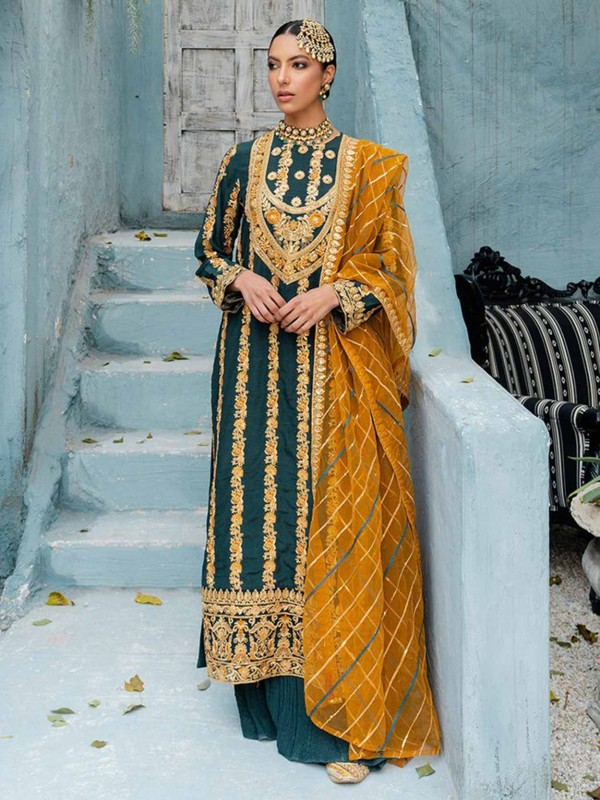 Rama Green Colour Georgette Palazzo Salwar Suit.
