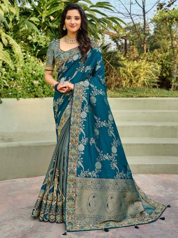 Blue Colour Silk Saree With Zari,Embroidery Work.