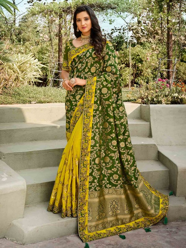Yellow,Green Colour Silk Fabric Indian Designer Saree.