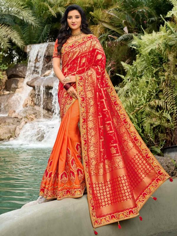 Rust,Orange Colour Silk Fabric Traditional Saree.