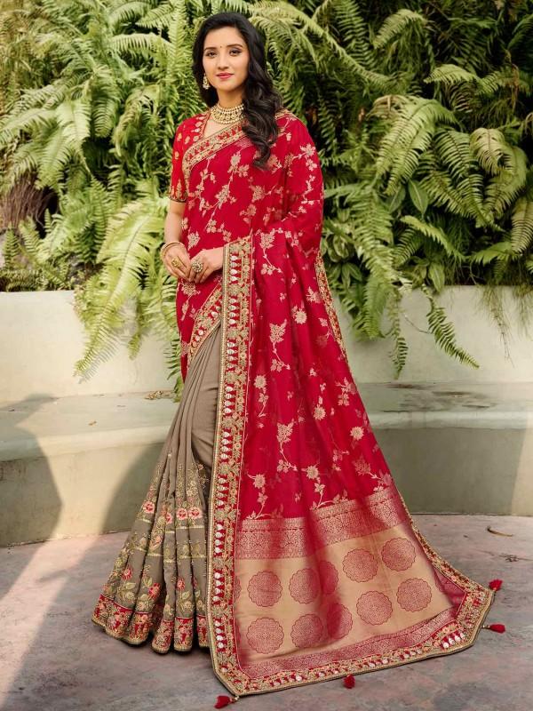 Maroon,Grey Colour Designer Bridal Saree in Silk Fabric.