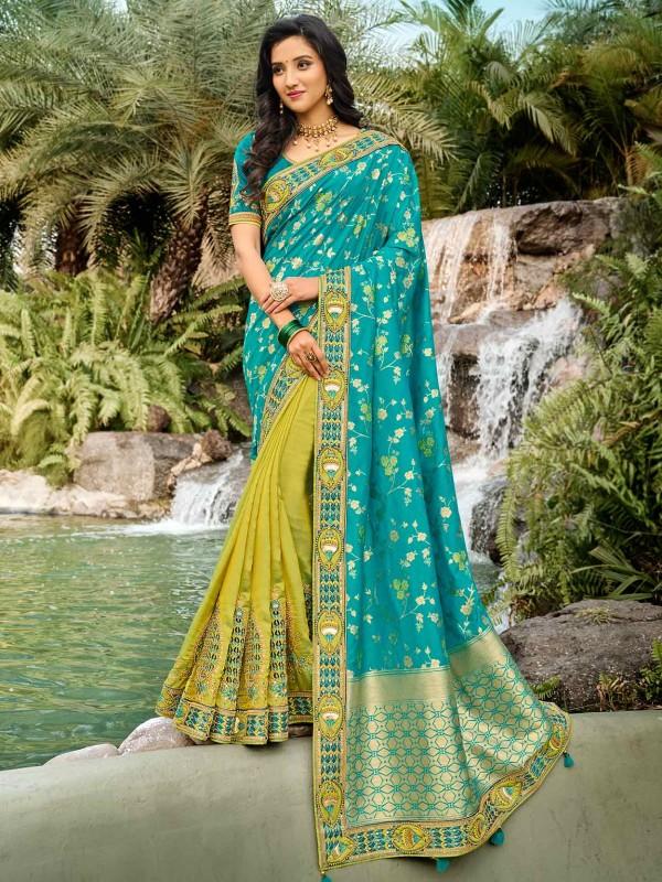 Silk Designer Saree Turquoise,Green Colour.