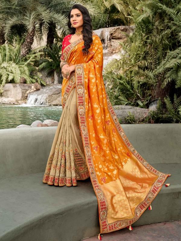 Golden,Beige Colour Silk Party Wear Saree.
