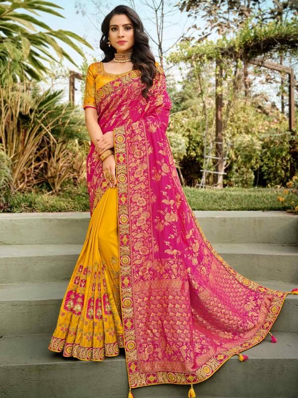 Yellow,Pink Colour Silk Designer Bridal Saree.
