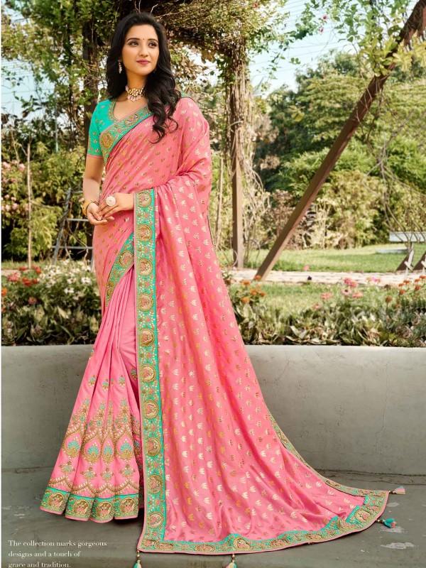 Pink Colour Silk Indian Designer Saree.