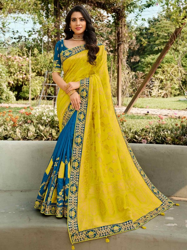 Yellow,Blue Colour Silk Women Saree.