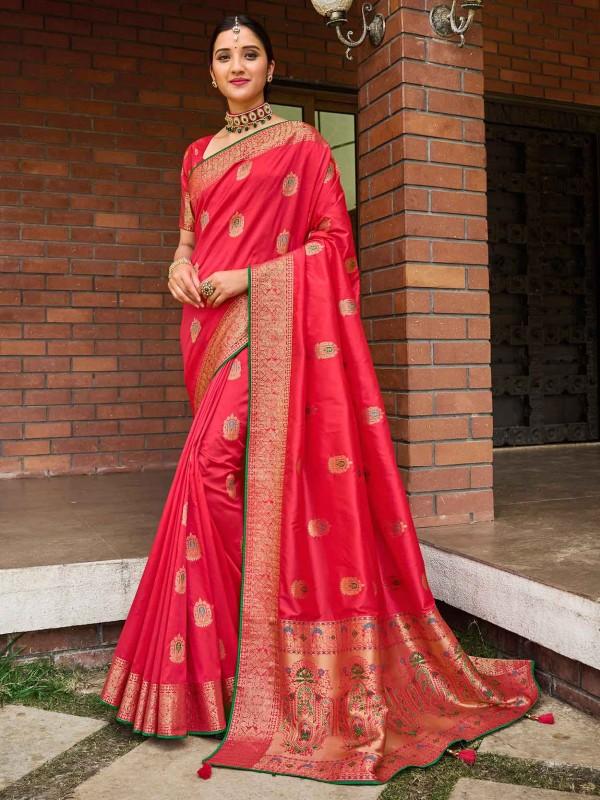 Rust Colour Banarasi Silk Designer Saree.
