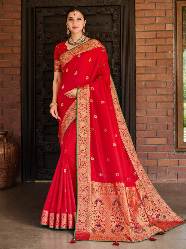 Red Colour Designer Bridal Saree in Banarasi Silk Fabric.