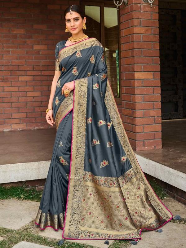 Grey Colour Banarasi Silk Saree in Weaving Work.