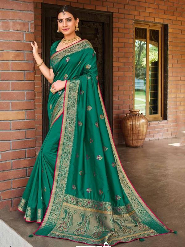 Green Colour Banarasi Silk Traditional Saree.