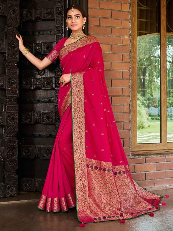 Pink Colour Designer Women Saree in Banarasi Silk Fabric.