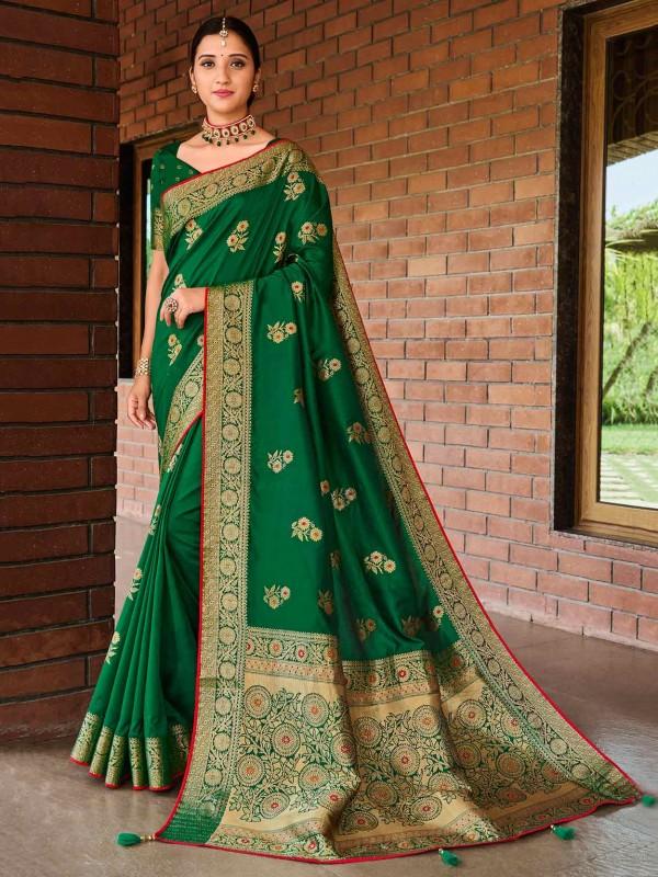 Green Colour Banarasi Silk Saree in Weaving Work.