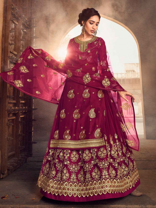 Wine Colour Jacquard,Net Fabric Anarkali Lehenga Style Salwar Suit.