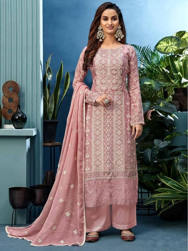 Pink Colour Shantoon Fabric Designer Palazzo Suit.