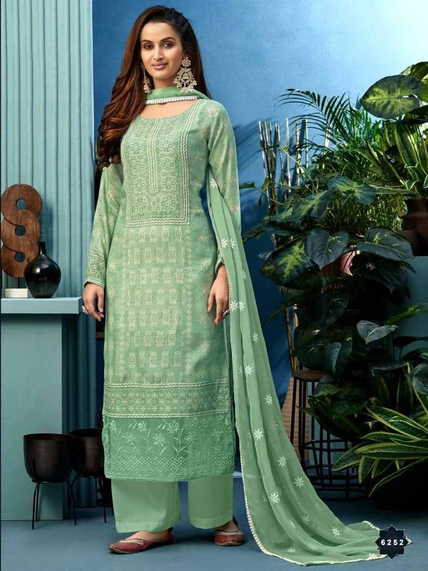 Shantoon Fabric Green Colour Palazzo Salwar Suit.