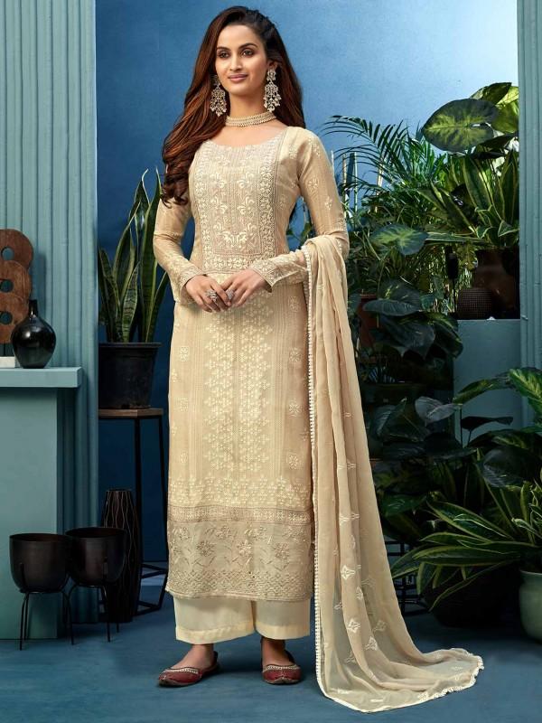 Beige Colour Designer Salwar Suit in Shantoon Fabric.