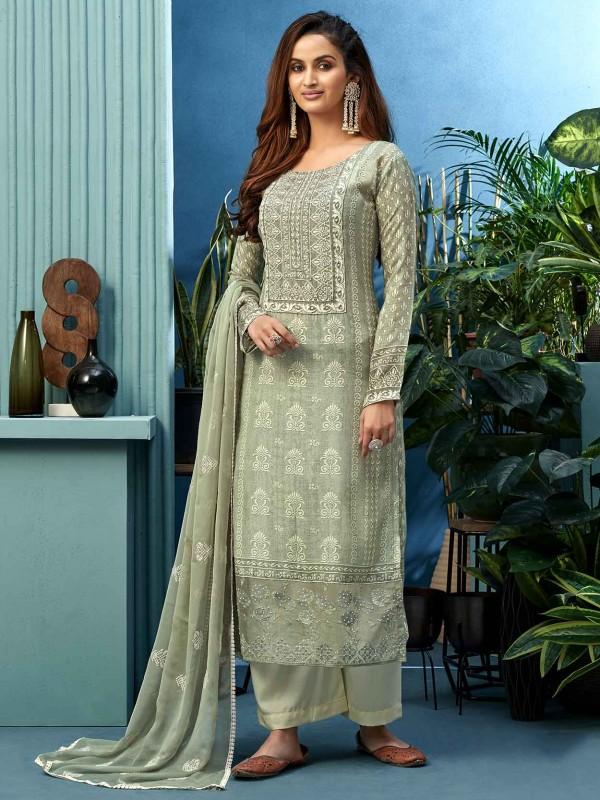 Grey Colour Shantoon Fabric Salwar Kameez.