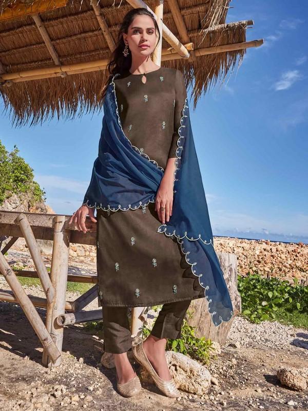 Brown Colour Silk Salwar Kameez.