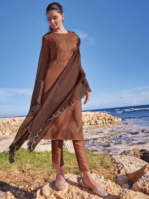 Brown Colour Silk Salwar Suit With Zari,Resham,Embroidery Work.