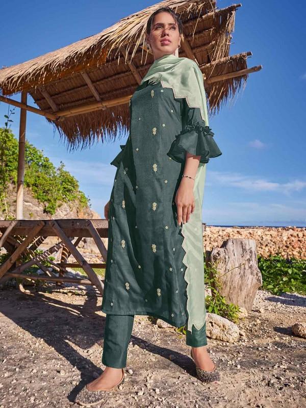 Silk Salwar Suit Green Colour With Zari,Resham,Embroidery Work.