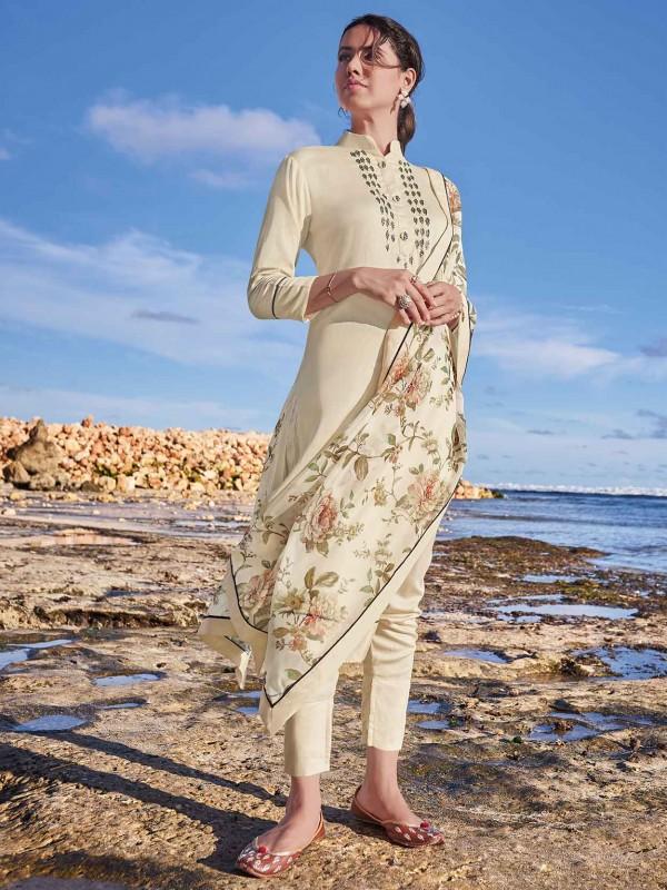 Cream Colour Cotton,Satin Fabric Salwar Kameez.