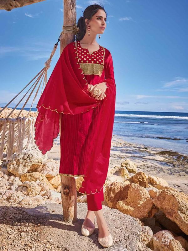 Red Colour Chanderi Silk Salwar Suit.